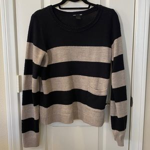 H&M Basic Brown and Black Color Block Sweater